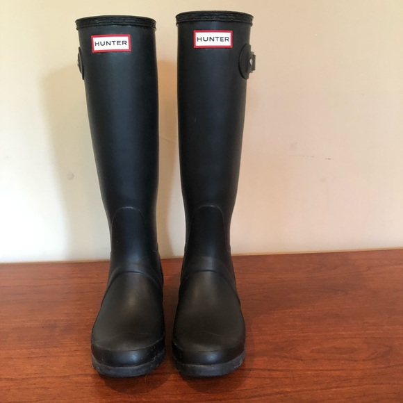 Hunter Shoes - Black matte tall hunter boots